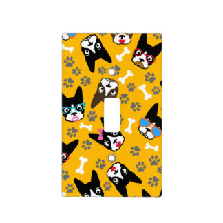 Boston Terrier Cute Mustache Funny Faces Light Switch Cover
