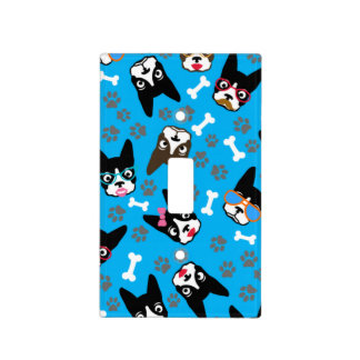 Boston Terrier Cute Mustache Funny Faces Switch Plate Cover