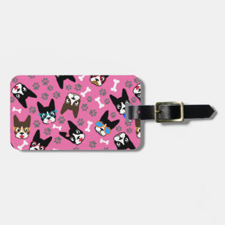 Boston Terrier Cute Mustache Funny Faces Luggage Tag