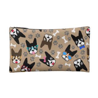 Boston Terrier Cute Mustache Funny Faces Makeup Bag