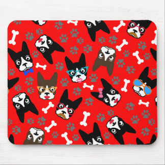 Boston Terrier Cute Mustache Funny Faces Mouse Pad