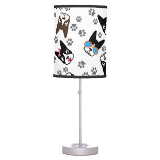 Boston Terrier Cute Mustache Funny Faces Table Lamp