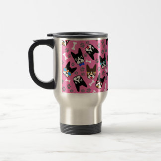 Boston Terrier Cute Mustache Funny Faces Travel Mug