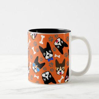 Boston Terrier Cute Mustache Funny Faces Two-Tone Coffee Mug