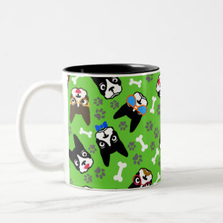 Boston Terrier Cute Mustache Funny Faces Two-Tone Coffee Mug