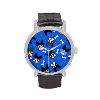 Boston Terrier Cute Mustache Funny Faces Watches