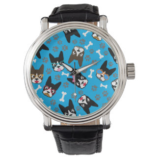 Boston Terrier Cute Mustache Funny Faces Wristwatches