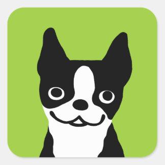Boston Terrier - Cute Smiley Dog Square Sticker