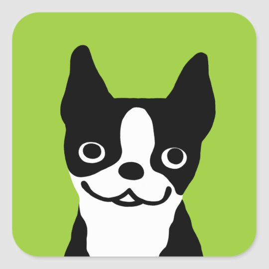 Boston Terrier - Cute Smiley Dog Square Sticker