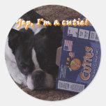 Boston Terrier:  Cutie Etiqueta Redonda