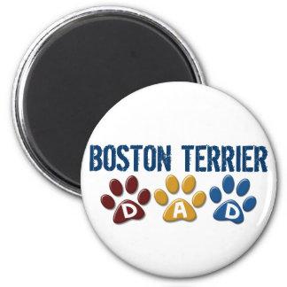 BOSTON TERRIER DAD Paw Print 1 2 Inch Round Magnet