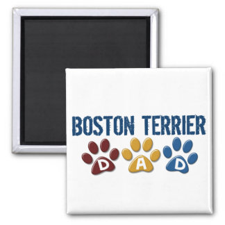 BOSTON TERRIER DAD Paw Print 1 2 Inch Square Magnet
