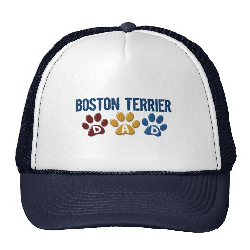 BOSTON TERRIER DAD Paw Print 1 Trucker Hat