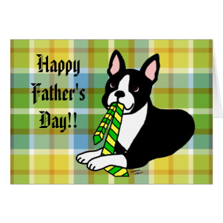 Boston Terrier Daddy 1 Plaid Card