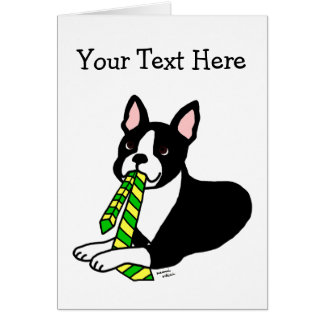 Boston Terrier Daddy with Tie 1 Card