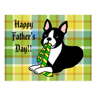 Boston Terrier Daddy with Tie 1 Postcard