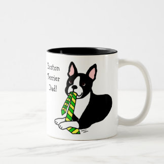 Boston Terrier Daddy with Tie 1 Two-Tone Coffee Mug