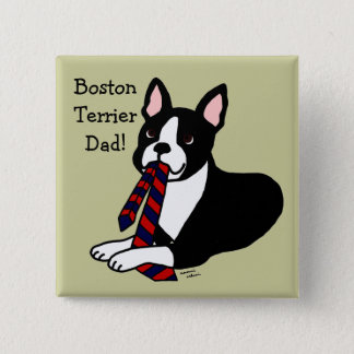 Boston Terrier Daddy with Tie 2 Button