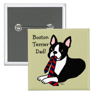 Boston Terrier Daddy with Tie 2 Pinback Buttons
