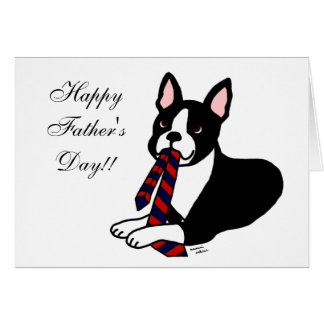 Boston Terrier Daddy with Tie 2 Card