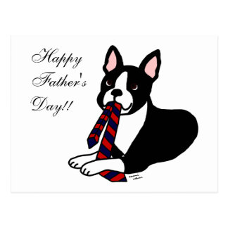Boston Terrier Daddy with Tie 2 Postcard