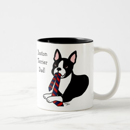 Boston Terrier Daddy with Tie 2 Two-Tone Coffee Mug