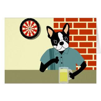 Boston Terrier Dartboard Beer Pub Card