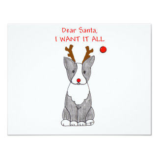 Boston Terrier Dear Santa Card
