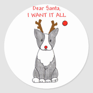 Boston Terrier Dear Santa Classic Round Sticker