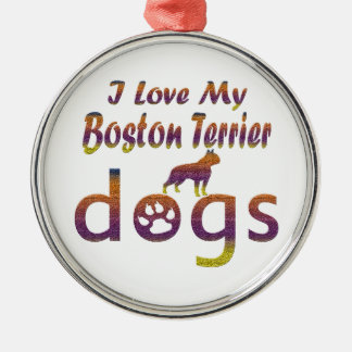 Boston Terrier designs Round Metal Christmas Ornament