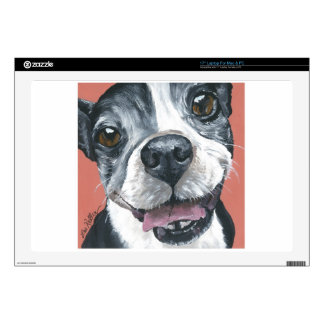 "Boston Terrier Dog art 17"" Laptop Decal"