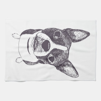 Boston Terrier Dog ARt by Carol Iyer Towel