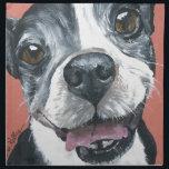 """Boston Terrier Dog art Napkin<br><div class=""""desc"""">This is sweet Boston Terrier Jack.</div>"""
