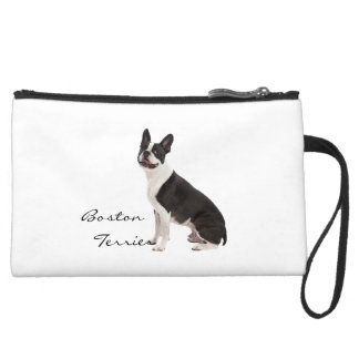 Boston Terrier dog beautiful photo, custom gift Suede Wristlet Wallet