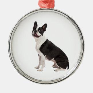 Boston Terrier dog beautiful photo ornament, gift Metal Ornament