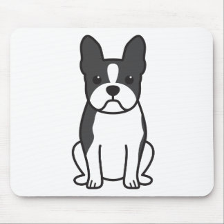 Boston Terrier Dog Cartoon Mouse Pad