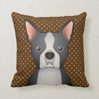 Boston Terrier Dog Cartoon Paws Throw Pillows