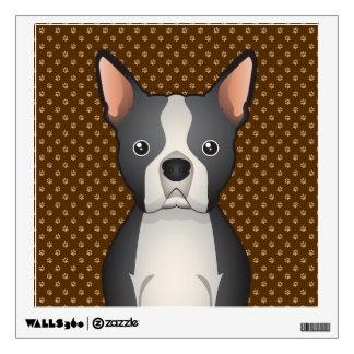 Boston Terrier Dog Cartoon Paws Wall Decal