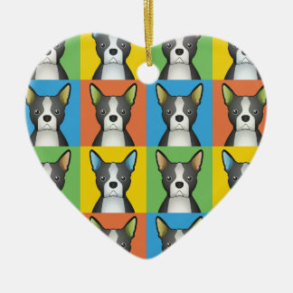 Boston Terrier Dog Cartoon Pop-Art Ceramic Ornament