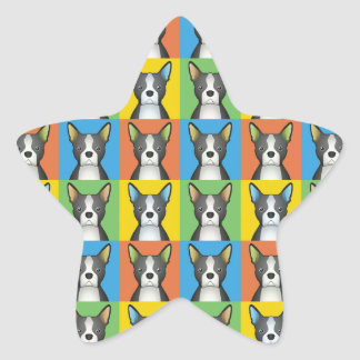 Boston Terrier Dog Cartoon Pop-Art Star Sticker
