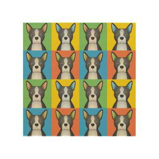 Boston Terrier Dog Cartoon Pop-Art Wood Wall Decor