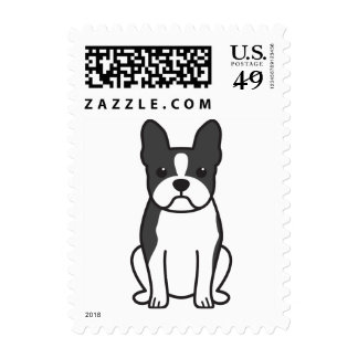 Boston Terrier Dog Cartoon Stamps