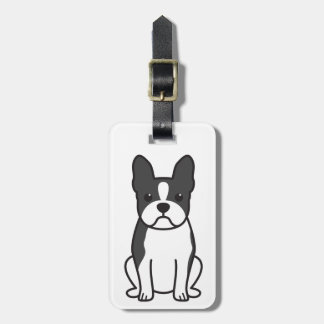 Boston Terrier Dog Cartoon Tag For Bags