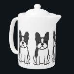"""Boston Terrier Dog Cartoon Teapot<br><div class=""""desc"""">Boston Terrier. Design by DogBreedCartoon</div>"""