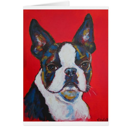 Boston Terrier Dog Colorful Art Cool Modern Card