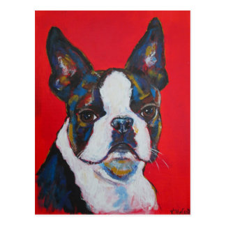 Boston Terrier Dog Colorful Art Cool Modern Postcard
