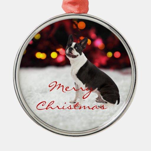 Boston terrier dog custom christmas tree ornament zazzle for Custom christmas tree ornaments