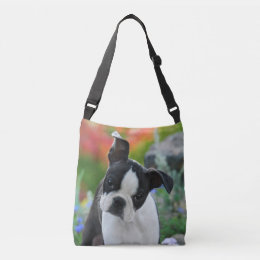 Boston Terrier Dog Cute Puppy Photo on Crossbody Crossbody Bag