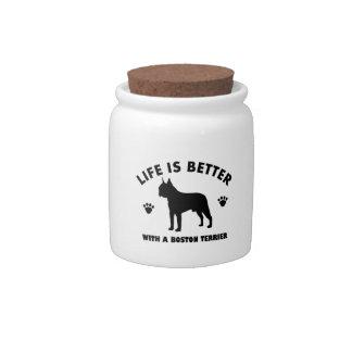 Boston terrier dog design candy dish