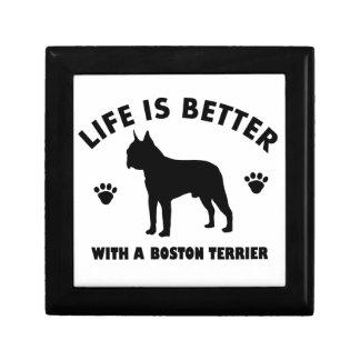 Boston terrier dog design keepsake box